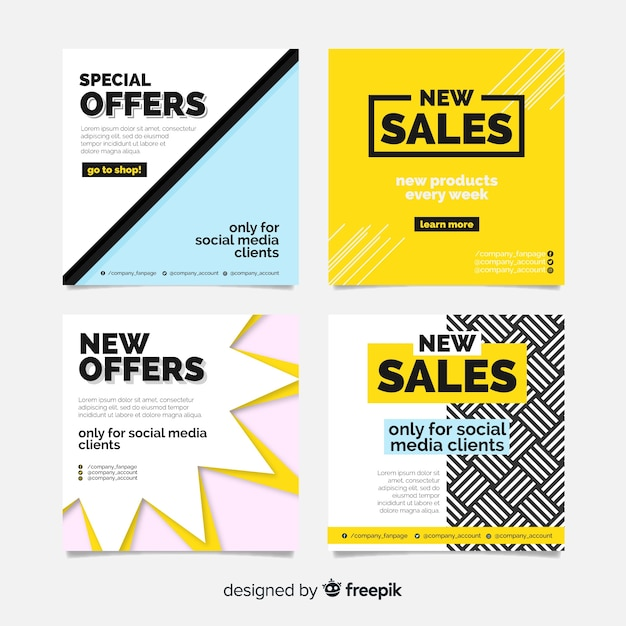 Modern sale banners for social media Free Vector