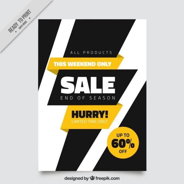 modern sale brochure with a black lightning vector free download