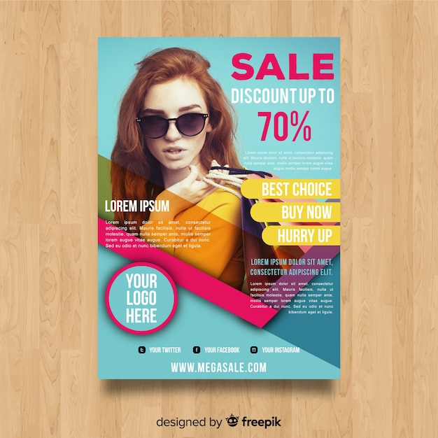 Modern sale flyer template with abstract design Free Vector