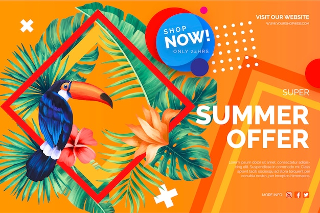 Modern sale offer banner with tropical elements Free Vector