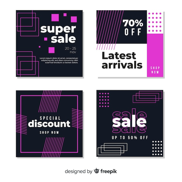 Modern sales banners collection for social media Free Vector