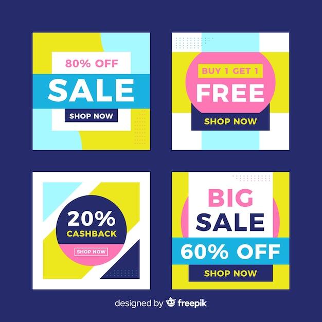Современные баннеры продаж для социальных сетей Бесплатные векторы