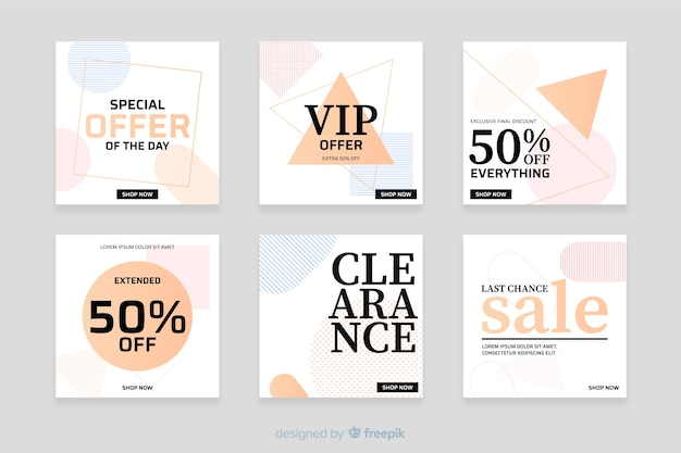 Modern sales banners for social media Free Vector