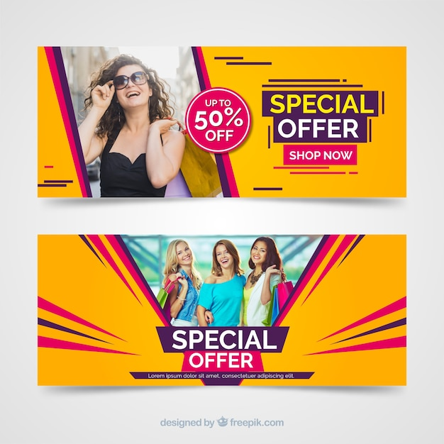 Modern sales banners with photo Free Vector