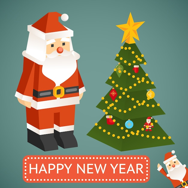 Modern santa claus toy with christmas tree. plate with the test Free Vector