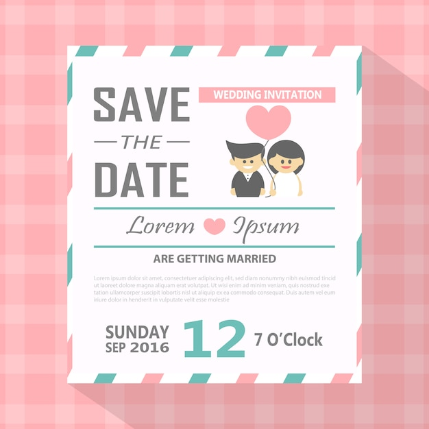 Modern Save The Date Invitation Card Vector Free Download