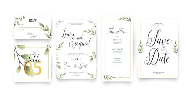 Modern save the date wedding stationery pack template Free Vector