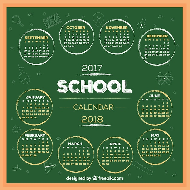 Modern school calendar on the blackboard