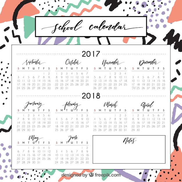 Modern school calendar with abstract lines