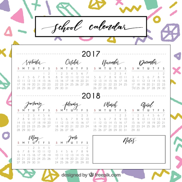 Modern school calendar with colorful style