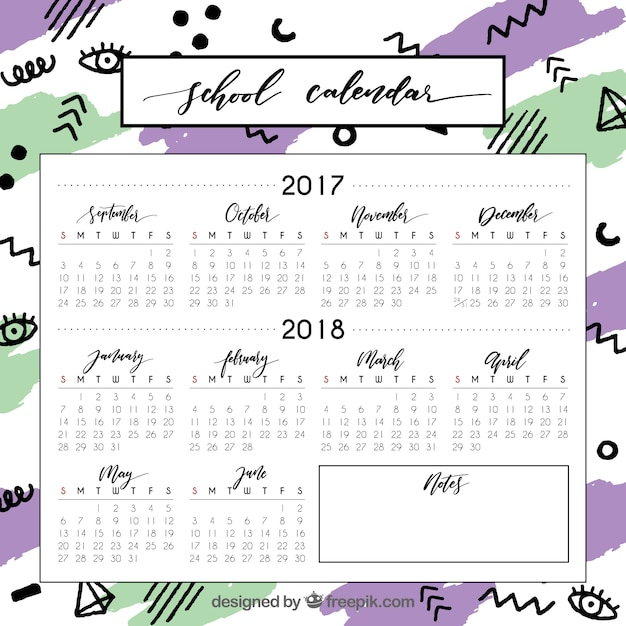 Modern school calendar with fun colors