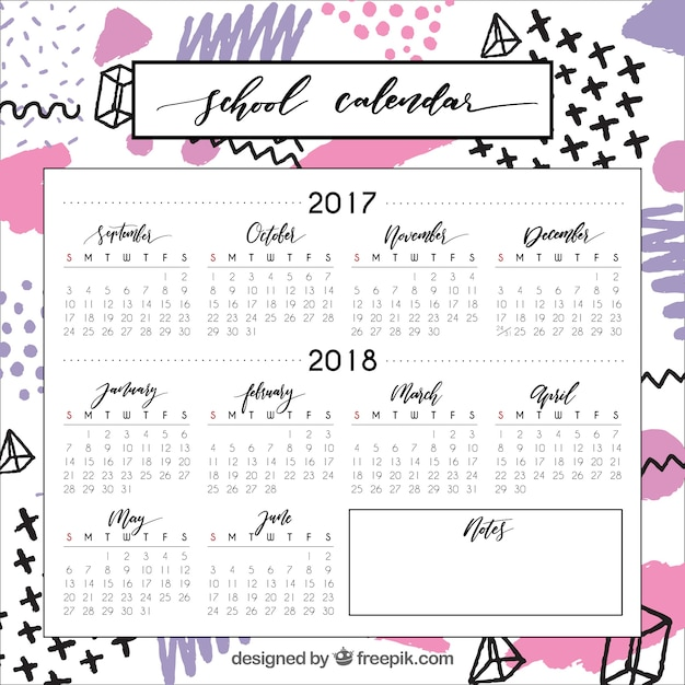 Modern school calendar with geometric shapes