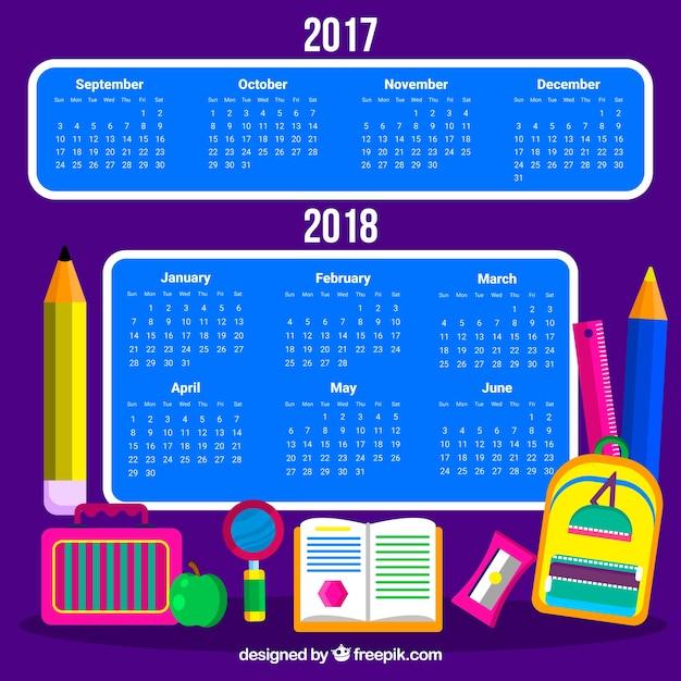 Modern school calendar with materials