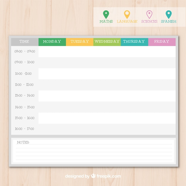 Modern school timetable template with pins