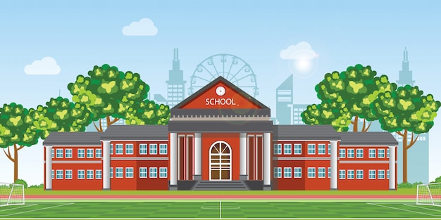 Modern school with football field in front of the school building. Premium Vector