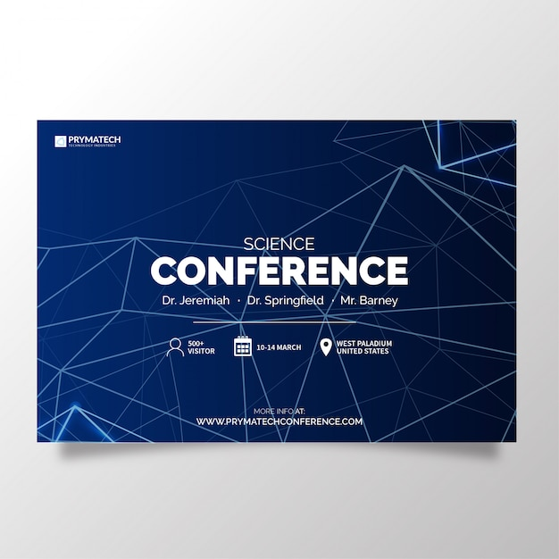 Modern science conference with abstract lines Free Vector