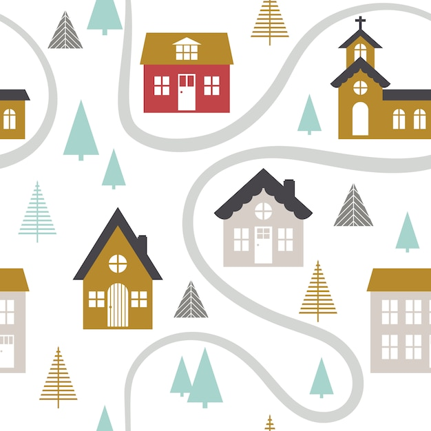 Modern seamless childish pattern with cute houses. Premium Vector