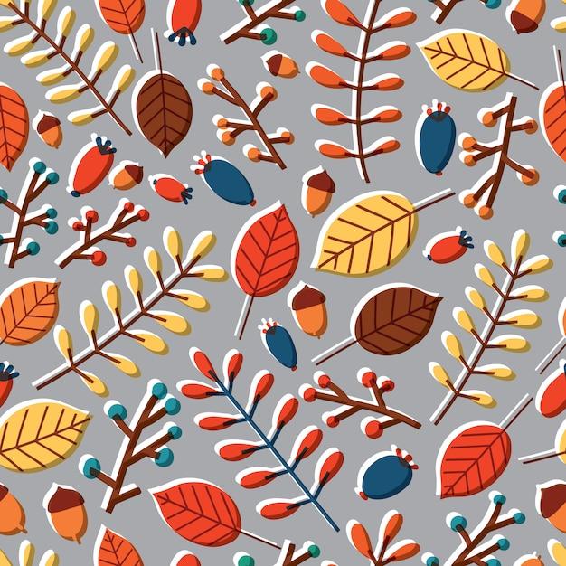 落ち葉、木の枝、モダンなシームレスパターン Premiumベクター