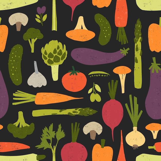 新鮮でおいしい有機野菜とキノコのモダンなシームレスパターン Premiumベクター