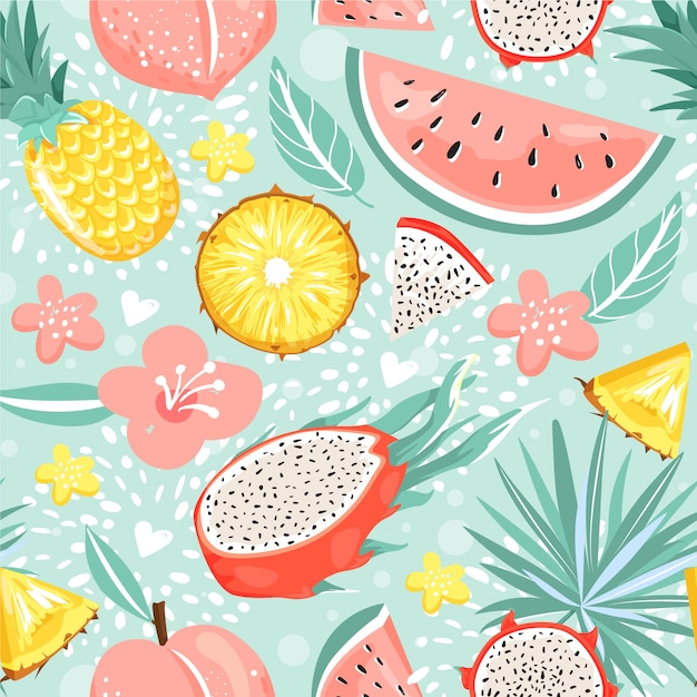 Modern seamless pattern with fruits, flowers, leaves and heart. Premium Vector