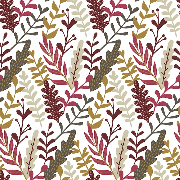 Modern seamless pattern with hand drawn leaves. Premium Vector
