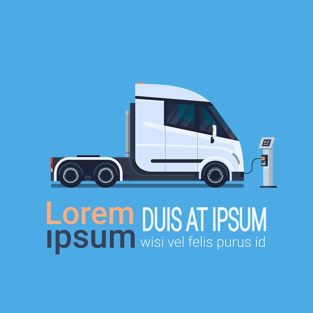 Modern semi truck trailer charging at electic charger station banner with place for text Premium Vector