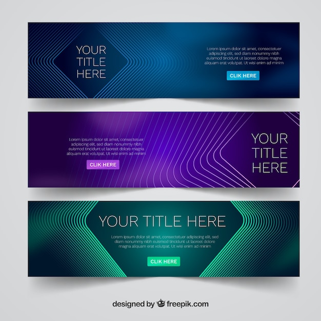Modern set of abstract banners Free Vector