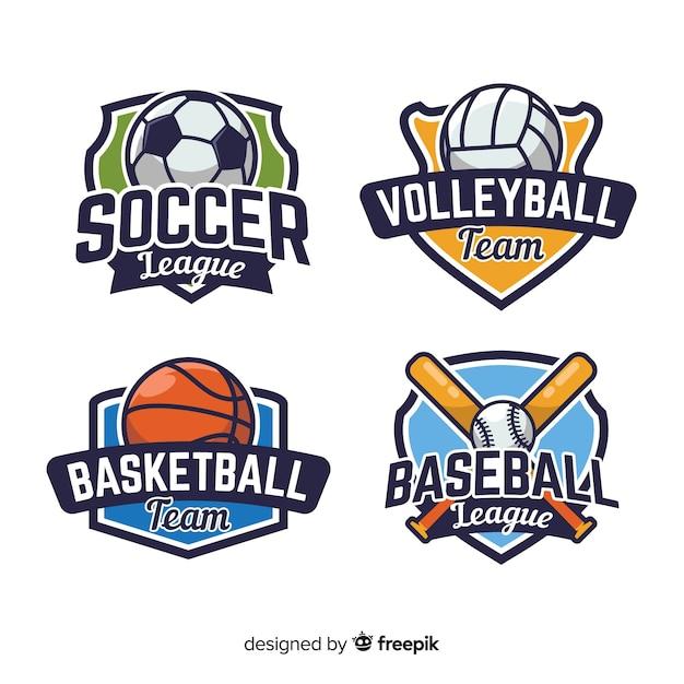 Modern set of abstract sports logos Free Vector