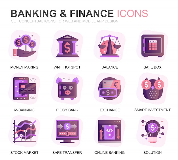 Modern set banking and finance gradient flat icons Premium Vector