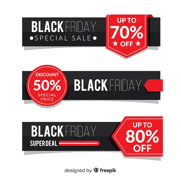 Modern set of black friday banners with flat design Free Vector