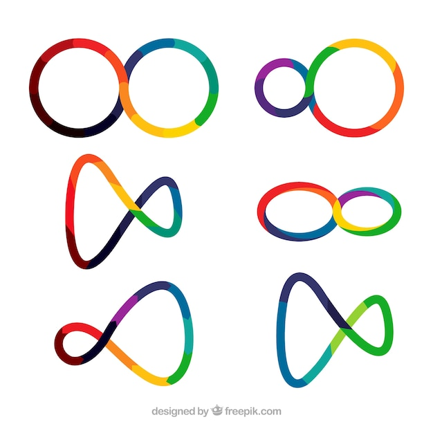 Modern set of colorful infinity symbols Free Vector