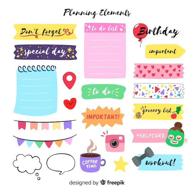 Modern set of colorful planning elements Free Vector