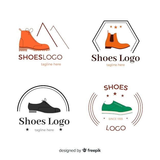 Modern set of colorful shoe logos Free Vector