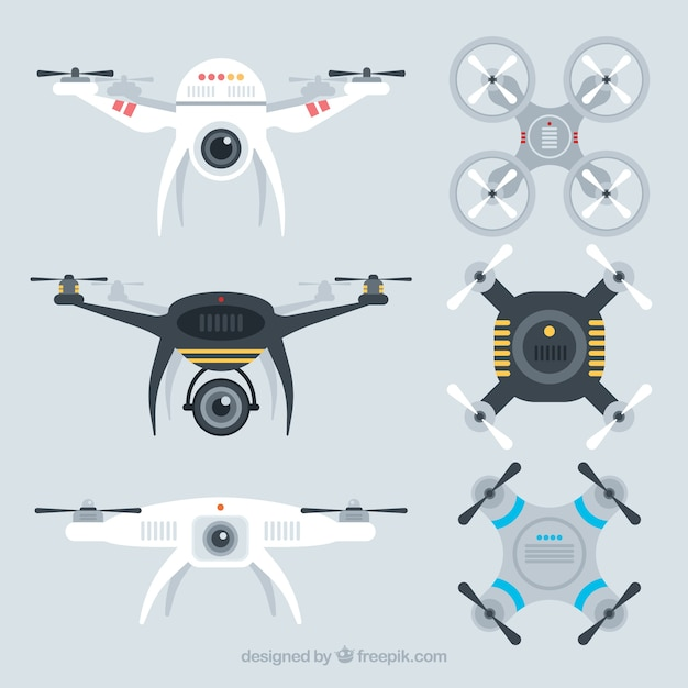 Modern set of cool drones Free Vector