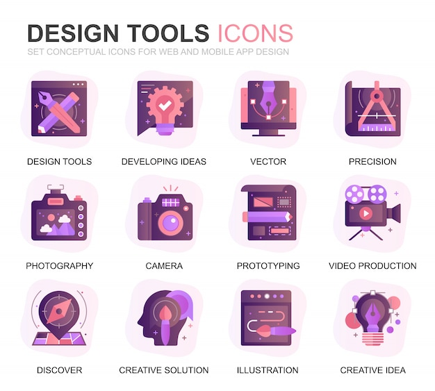 Modern set design tools gradient flat icons Premium Vector