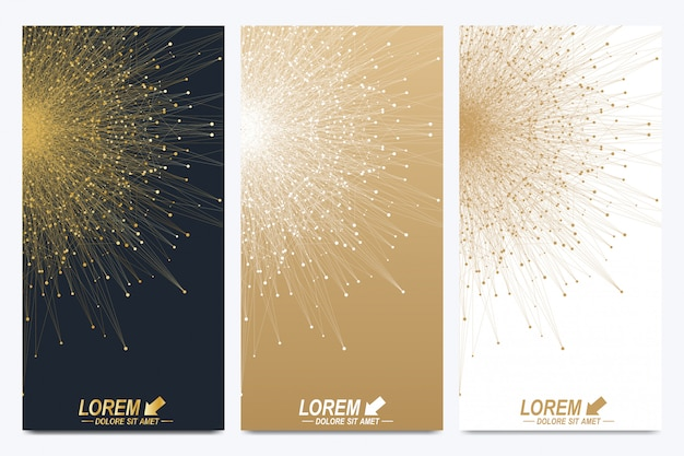 Modern set of flyers. geometric abstract presentation. molecule and communication background for medicine, science, technology, chemistry. golden cybernetic dots. lines plexus. card surface. Premium Vector