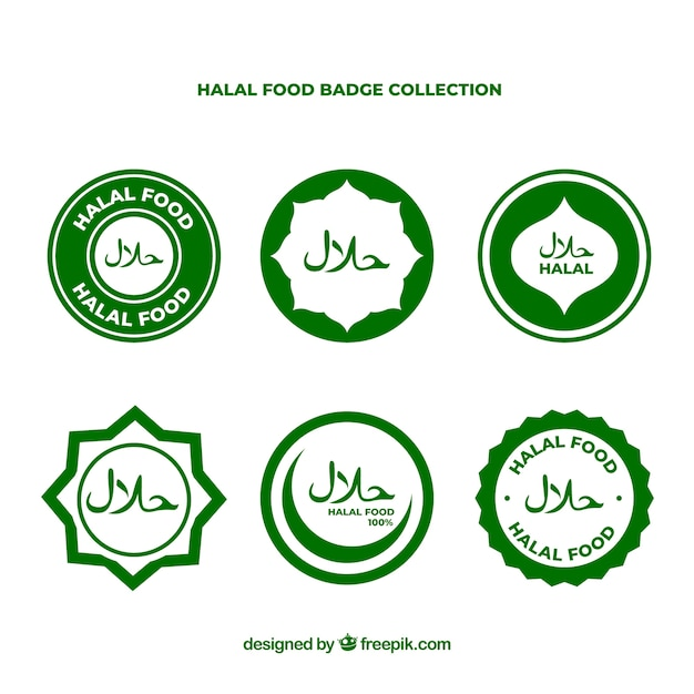 Modern set of halal food labels with flat design Free Vector