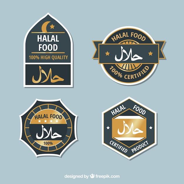 Modern set of halal food labels with flat design Vector