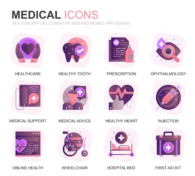 Modern set healthcare and medical gradient flat icons Premium Vector