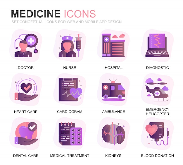 Modern set healthcare and medicine gradient flat icons Premium Vector