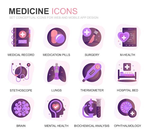 Modern set healthcare and medicine gradient flat icons Premium Vector
