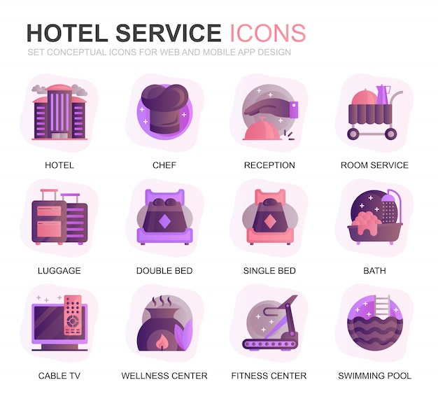 Modern set hotel services gradient flat icons Premium Vector