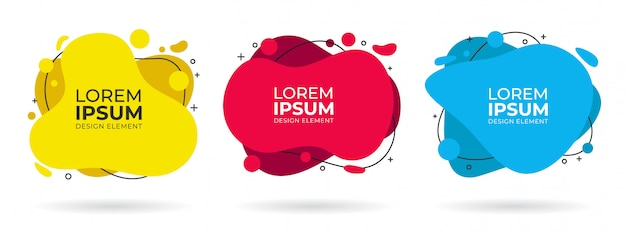 Modern set of liquid fluid shapes abstract banners with black line Premium Vector