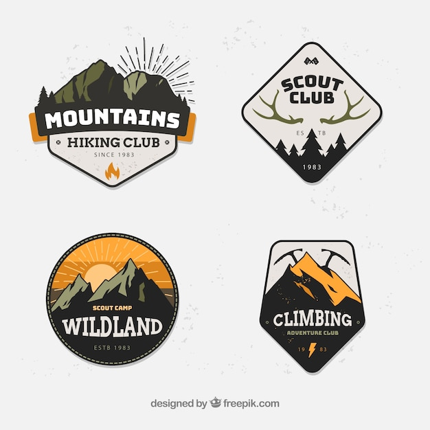 Modern set of mountain badges Free Vector