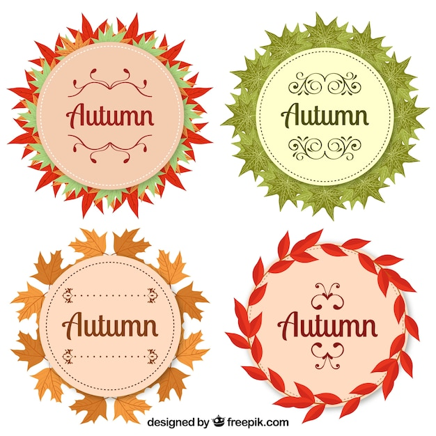 Modern set of autumn badges with circular style