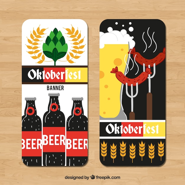 Modern set of banners for oktoberfest