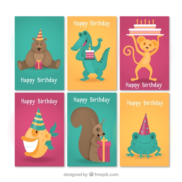 Modern set of birthday cards with\ animals