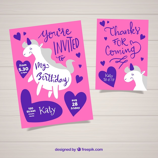 Modern Set Of Birthday Cards With Unicorn Free Vector