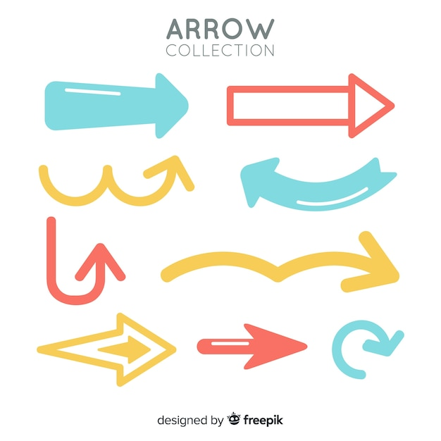 Modern set of colorful arrows Free Vector