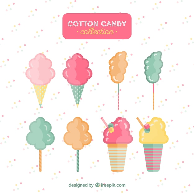Modern set of colorful cotton candy